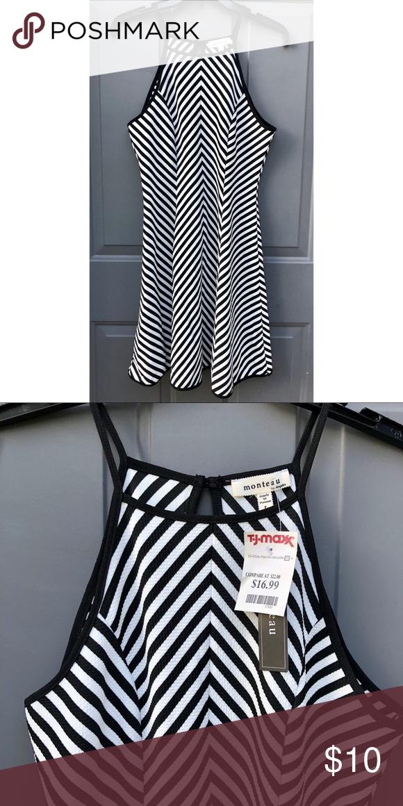 Black and white midi a line dress