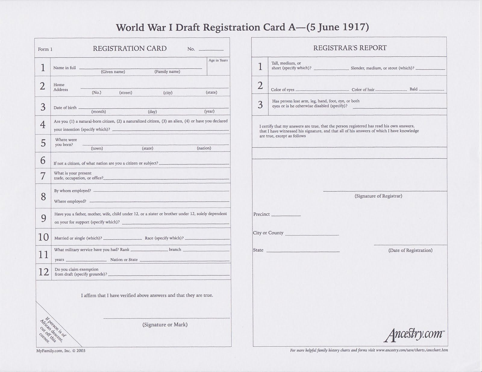 A World War I Draft Registration Card Blank  Gather Up All Those