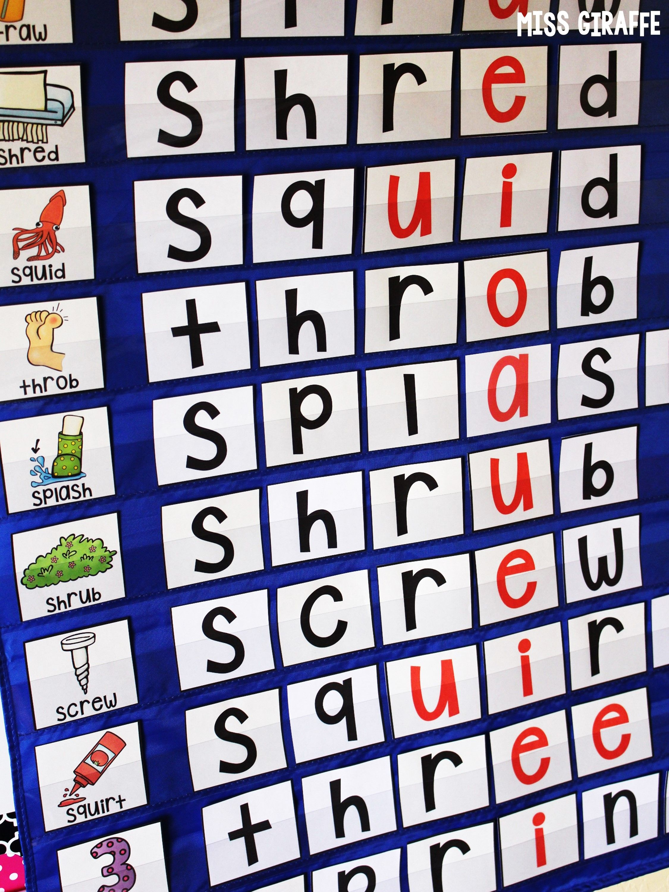 3 Letter Blends Pocket Chart Centers And Materials Trigraphs Activities