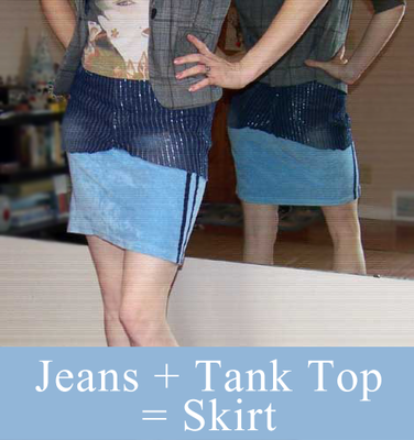 Recycle Jeans into a Skirt