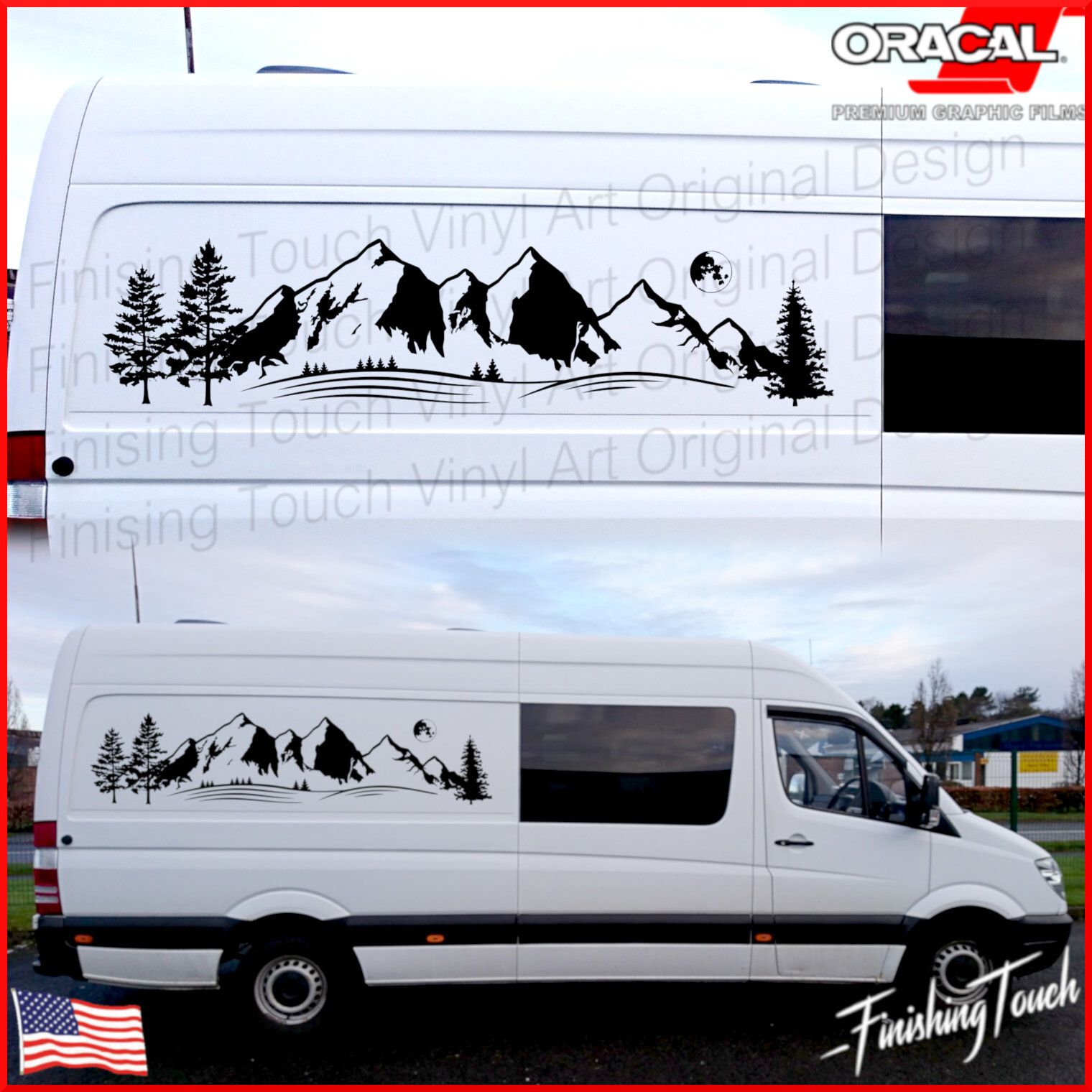 Mountain graphic vinyl decal for rv camping van custom vehicle sticker quality oracal 651 tree forest
