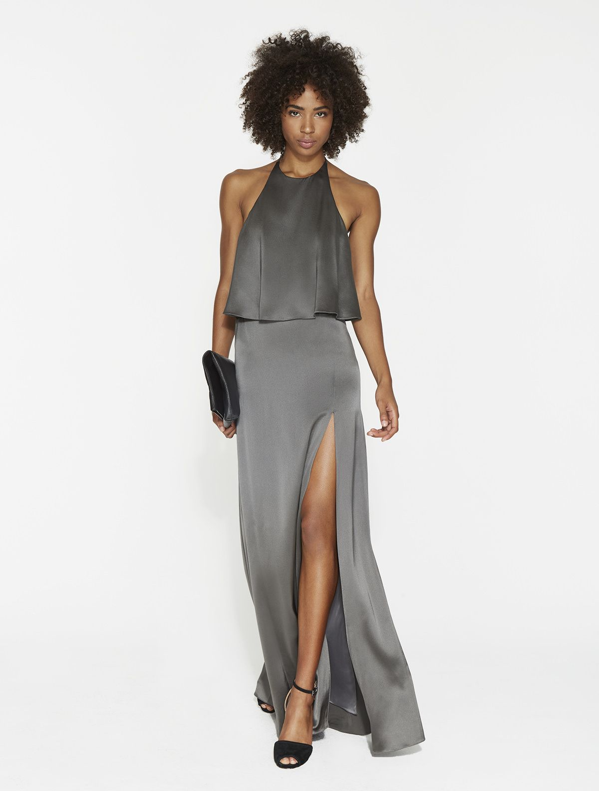 Satin Flounce Gown | Satin, Gowns and Halston heritage