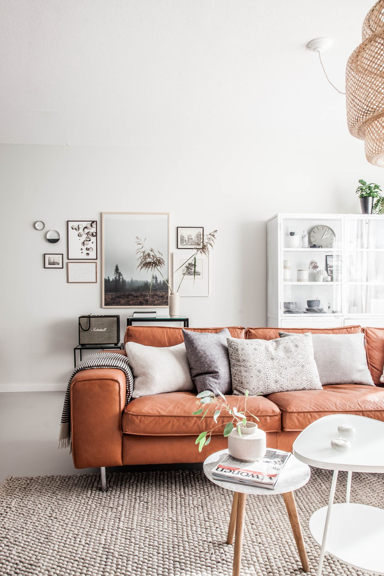 Light living room with tan leather sofa home Pinterest