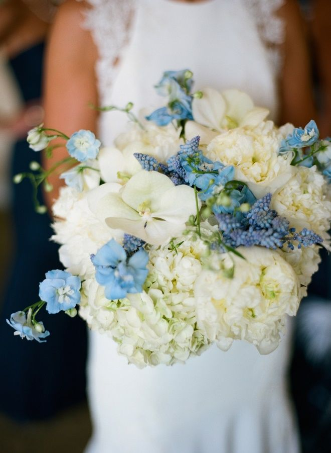 White Peony Bridal Bouquets With Blue Hydrangea