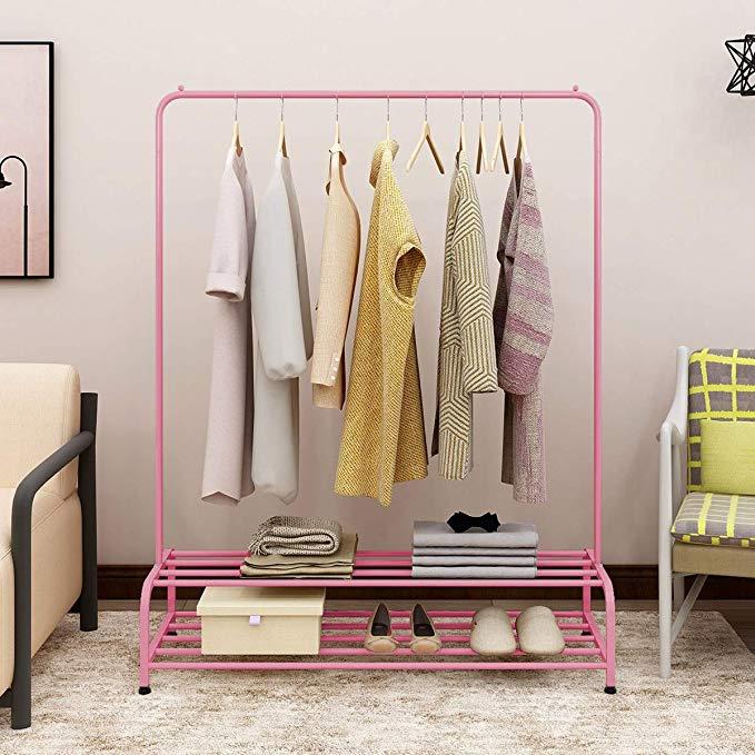 Amazon Com Bofeng Clothes Rack Metal Garment Racks Heavy Duty Indoor Bedroom Cool Clothing Hanger With Top In 2020 Garment Racks Standing Clothes Rack Storage Shelves