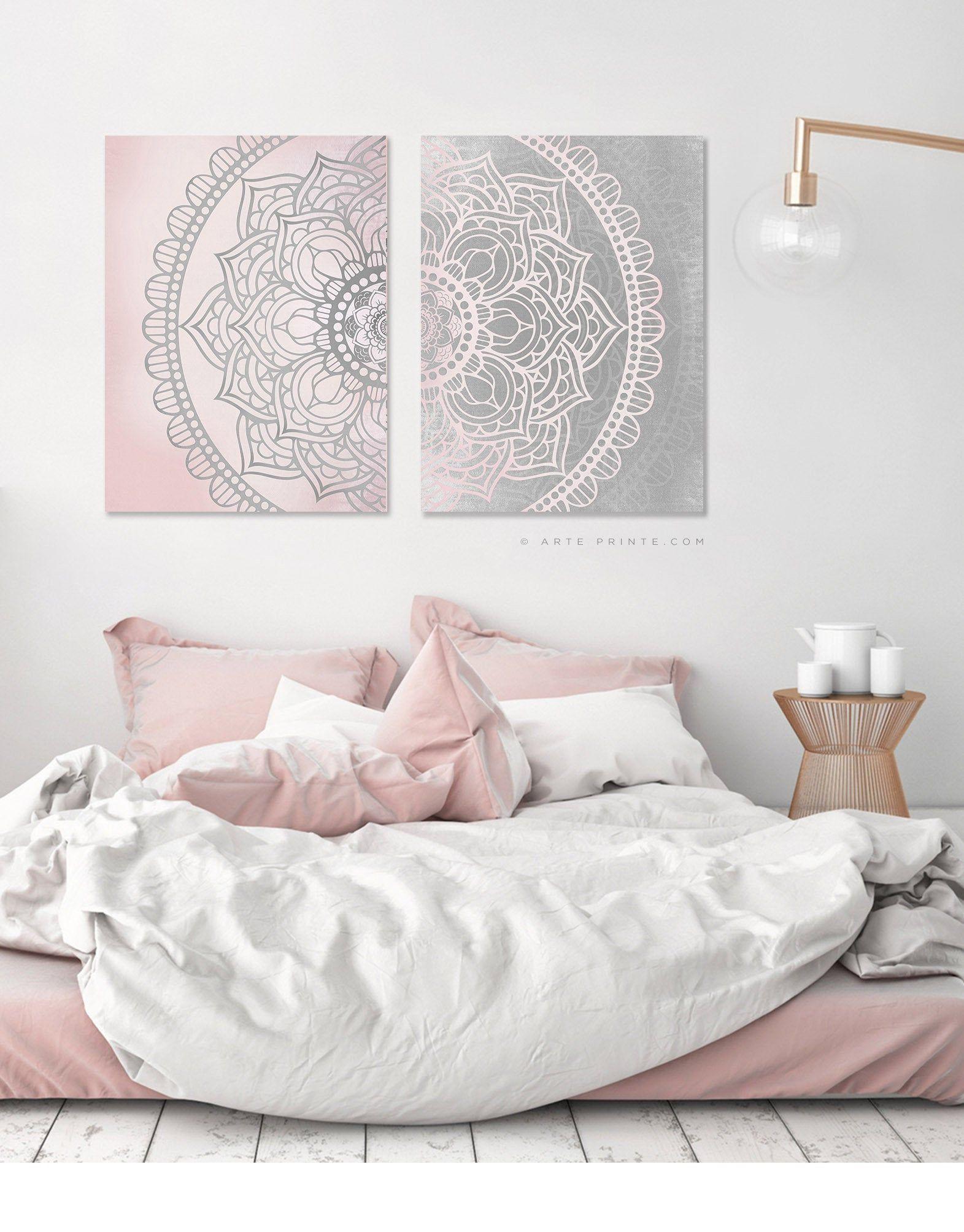 Pink Gray Mandala Wall Art Set Of 2 Prints Boho Living Room Etsy Blush Pink And Grey Bedroom Bedroom Wall Wall Decor Bedroom