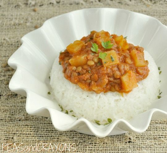 vegetarian Madras Lentils... in the crockpot! Tried this with a little more coconut milk and a little less better. Easy and delicious!