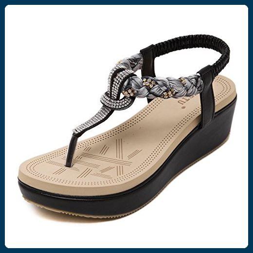 Slip-on Sandalen mit Keil und Strass - schwarz Frau