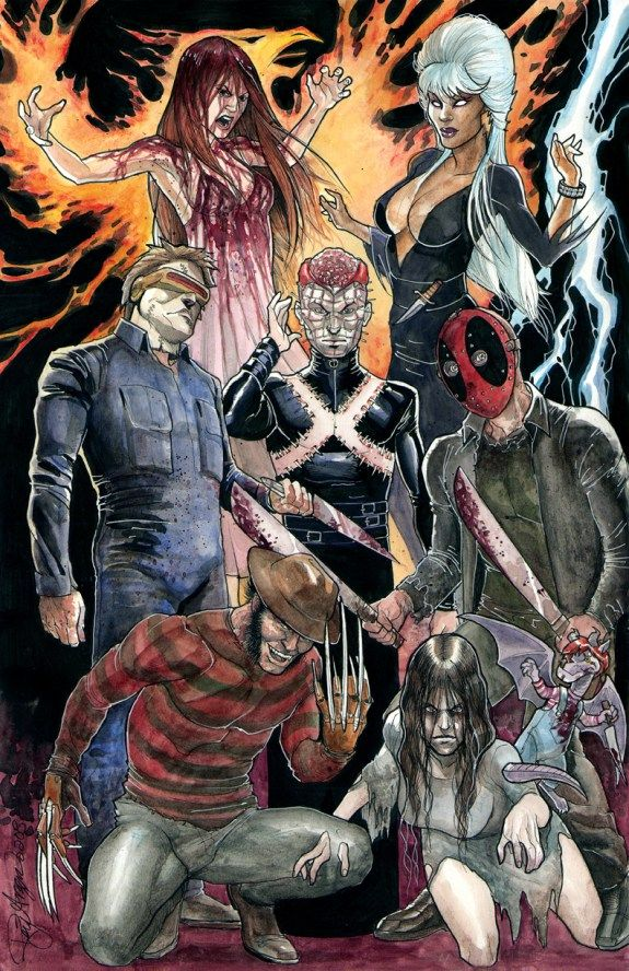 X Men X Horror Movie Icons Mashup Horror Movie Icons Comic Art Comics