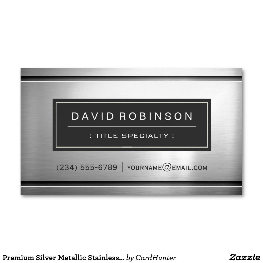 Premium Silver Metallic Stainless Steel Look Business Card Magnet Zazzle Com Construction Business Cards Magnetic Business Cards Business Cards