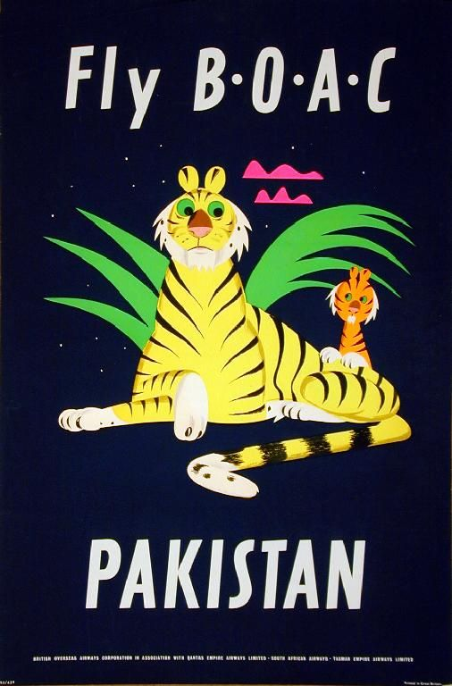 Pakistan Vintage Airline Advert Print Airways Old Photo Retro Poster BOAC