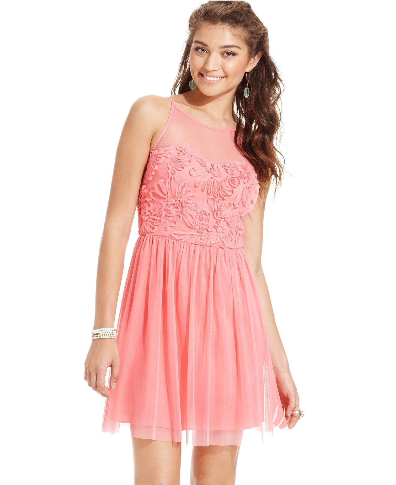 Jump Juniors Dress, Sleeveless Illusion A-Line - Juniors Dresses ...