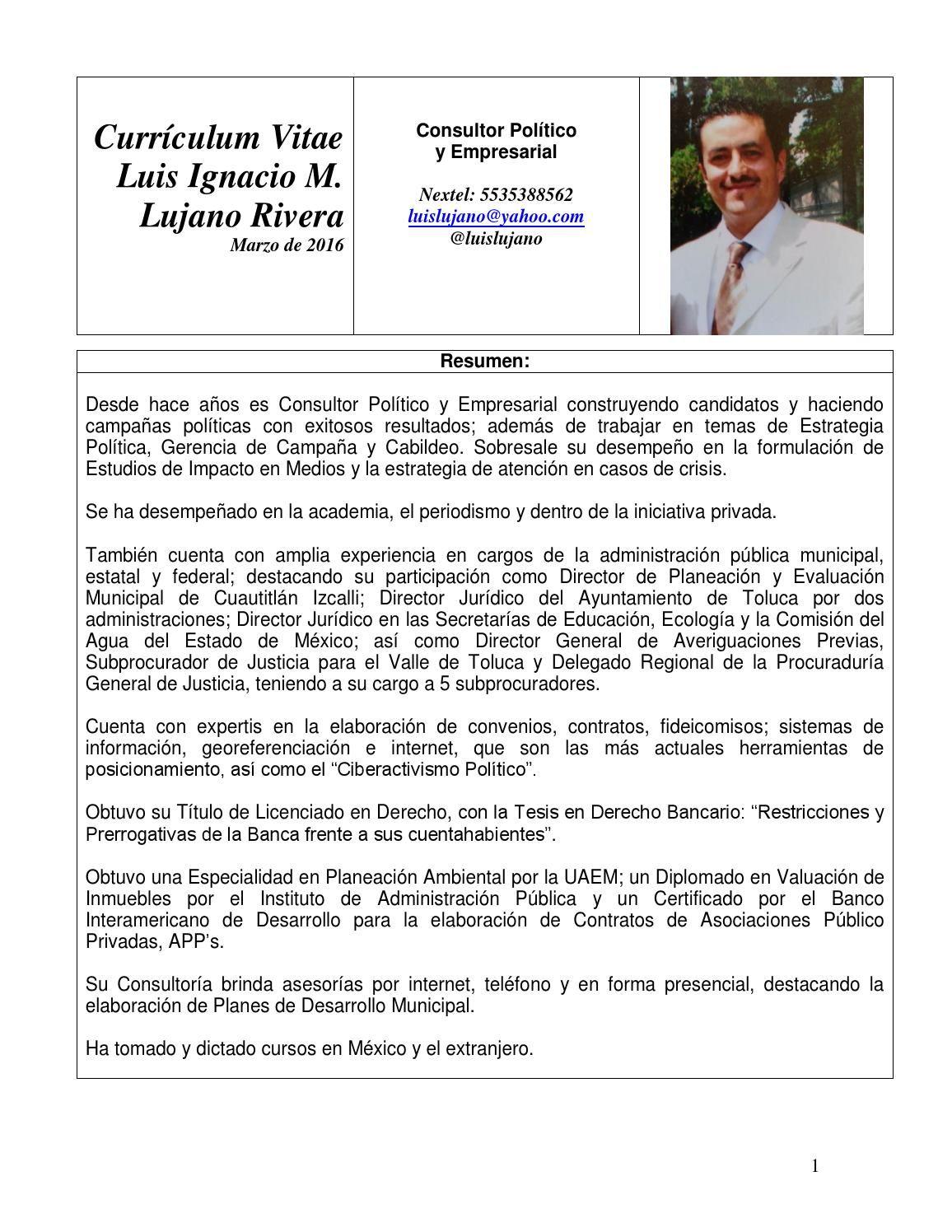 Luis Ignacio Lujano Rivera Currículum Vitae Mzo 2016 Formato BUAP ...
