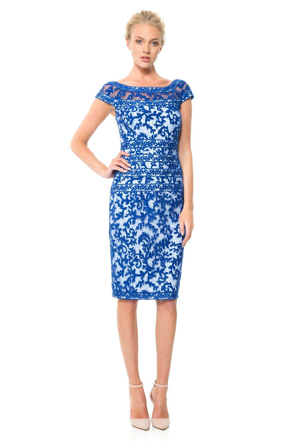 Embroidered Banded Lace Cap Sleeve Sheath Dress New Arrivals