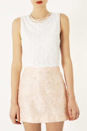 Bead Necklace Lace Crop Top - Cropped Tops & Bralets - Tops - Clothing - Topshop USA