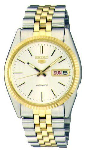3b2dcd790 Seiko Men's SNXJ90 Seiko 5 Automatic White Dial Two-Tone Stainless-Steel Watch  Seiko. $170.00. 3-fold clasp; stainless steel case and band. 3-hands.