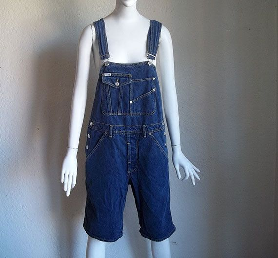 Vintage 90s Guess Grunge Slouchy Cotton Denim Bib Overalls Shorts S  $35 by funquejunque