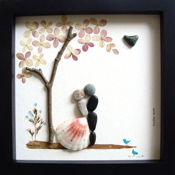 Wedding Art Gifts: Unique WEDDING Gift-Personalized Wedding Gift-Pebble Art