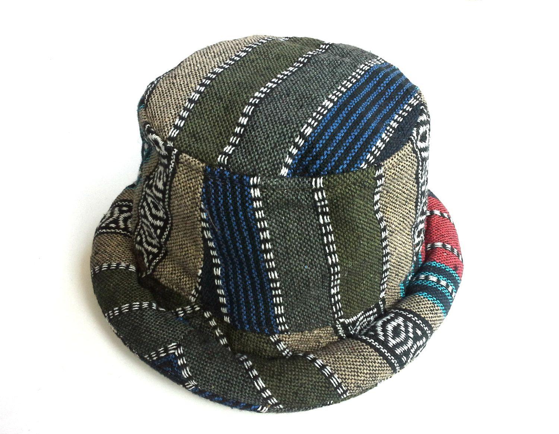 66095869848c33 Hippie Mens Bucket hat, Pork Pie Trilby, Funky style Hipster hat, Boho  Bohemian