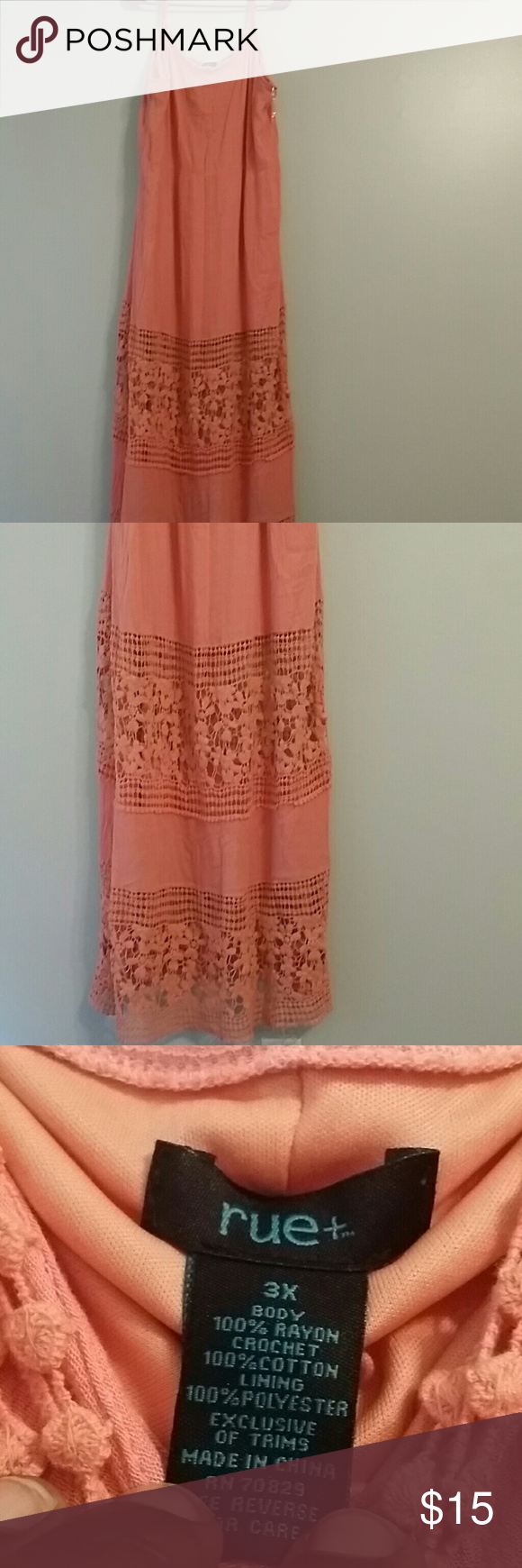 plus size alert! rue 21 maxi 3x beautiful summer color. lace is