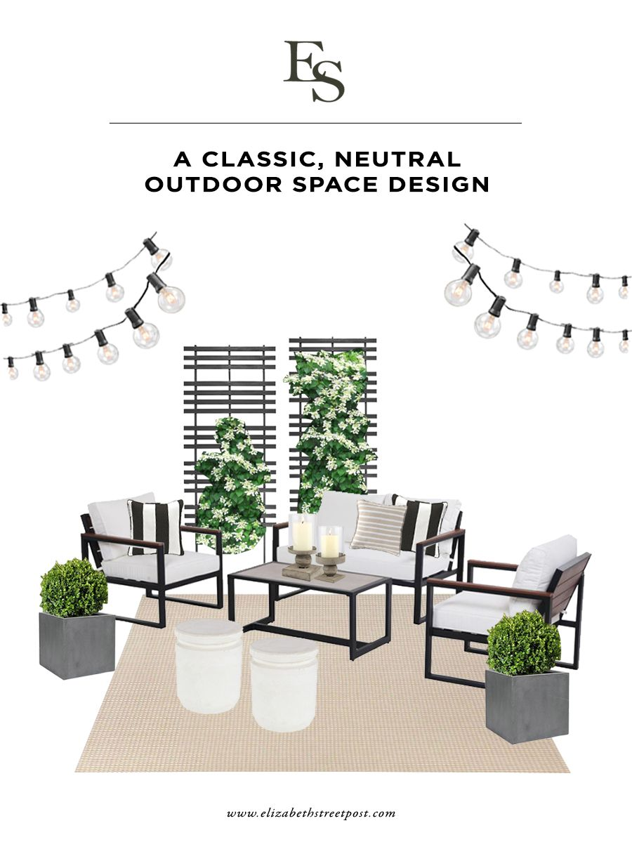 A Neutral Outdoor Space Design For Small Spaces Elizabeth Street Post Outdoor Space Design Space Design Affordable Outdoor Furniture