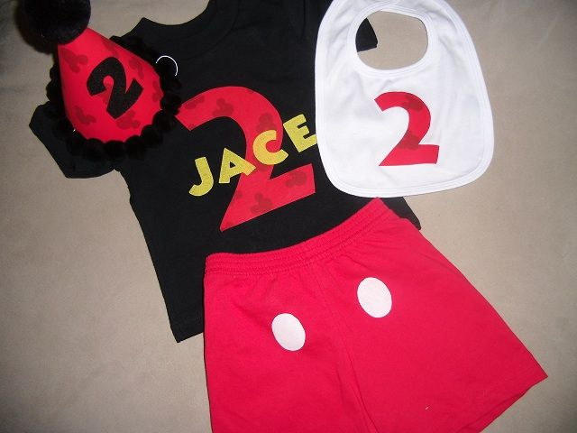 Toddler Boys 2nd Second Birthday Mickey Mouse Personalized 2 Set Shirt BLACK Matching Hat Bib And Shorts Party Two Clubhouse