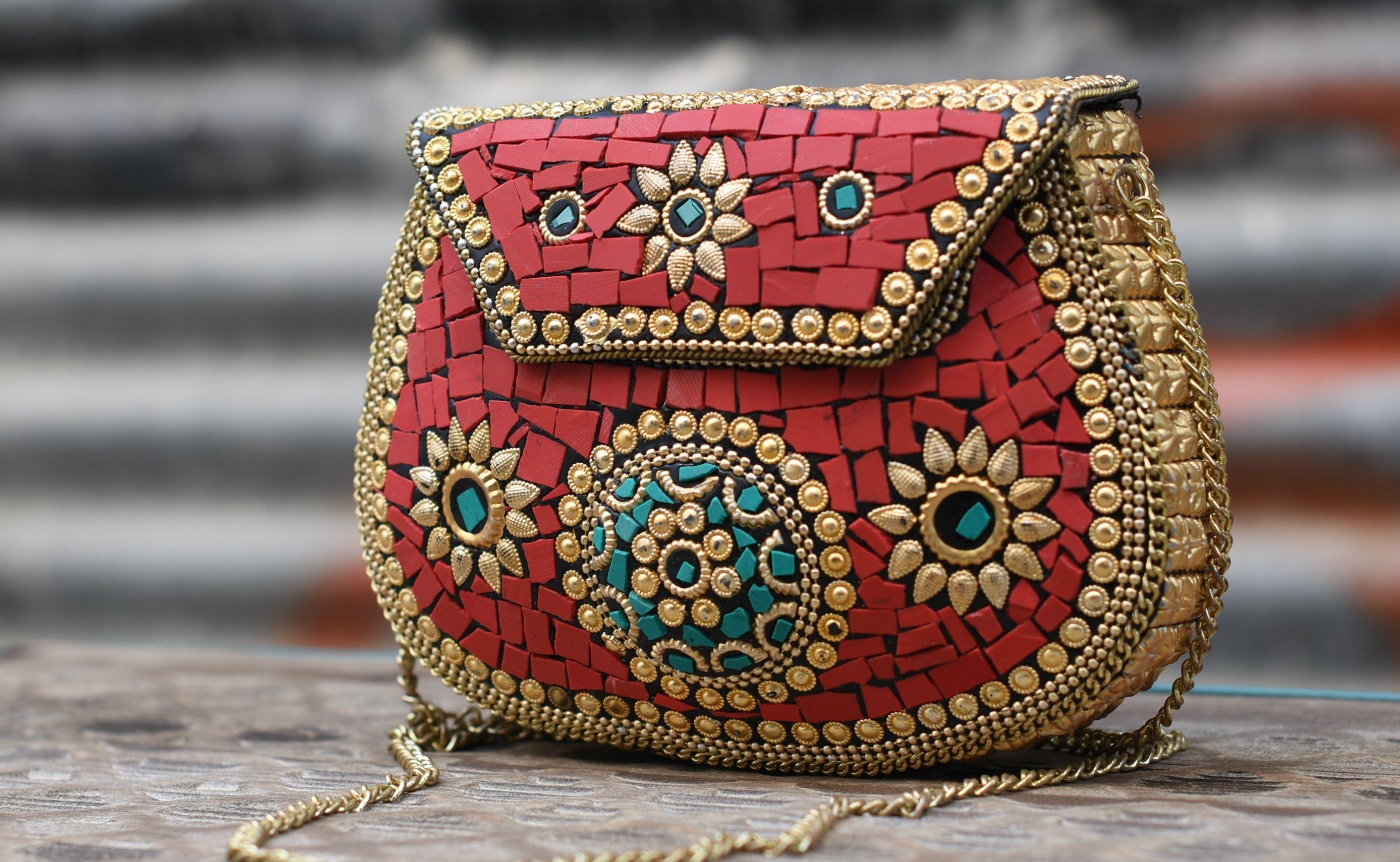 Bolso metálico mosaico. Tamaño rectangular | Bolsos