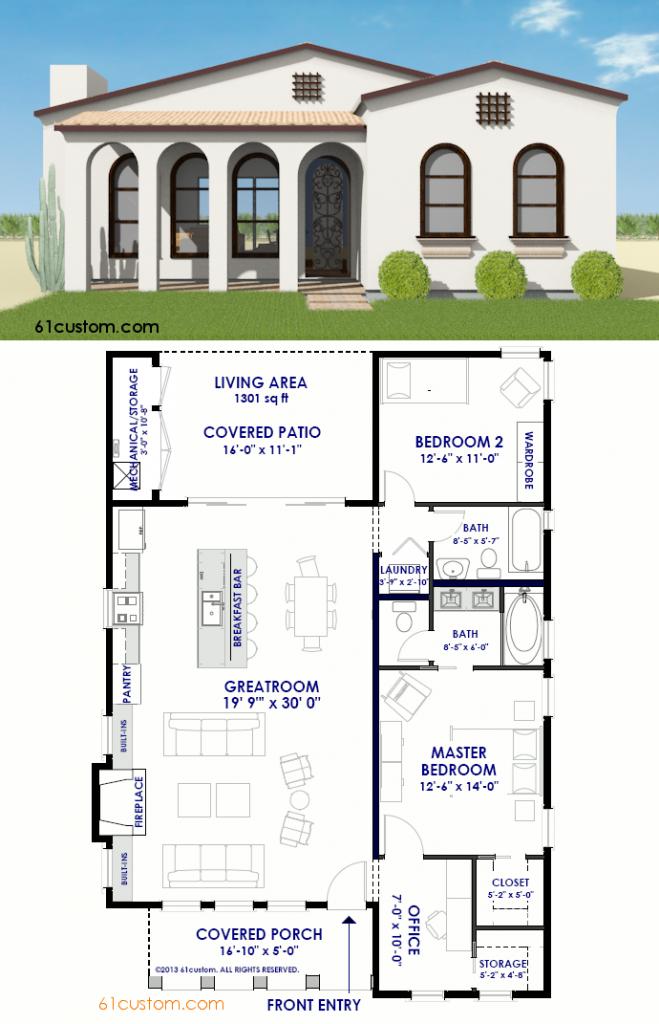 Small Spanish Contemporary House Plan 61custom