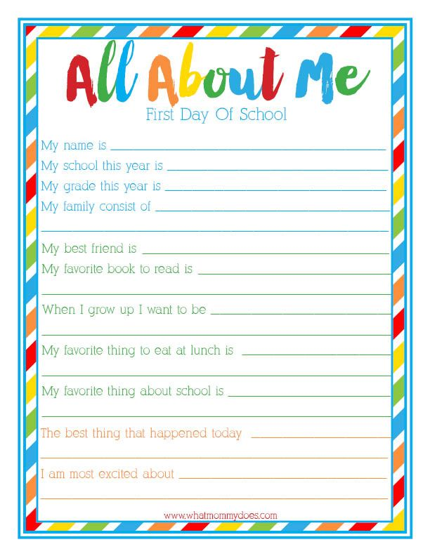 First Day Of School All About Me Interview Free Printable Back To School Survey For Kids First Day Of School School Interview 1st Day Of School All about me questionnaire preschool