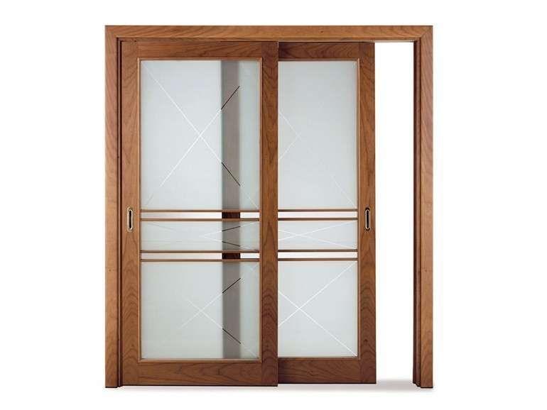 Porte scorrevoli in vetro - Porta scorrevole vetro con cornice legno ...