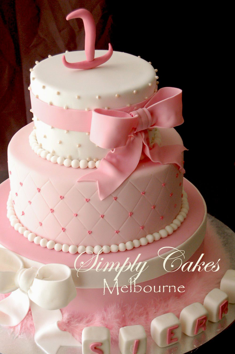 Incredible Sierras 3 Tiers 1 St Birthday Cake With Images Tiered Cakes Funny Birthday Cards Online Chimdamsfinfo