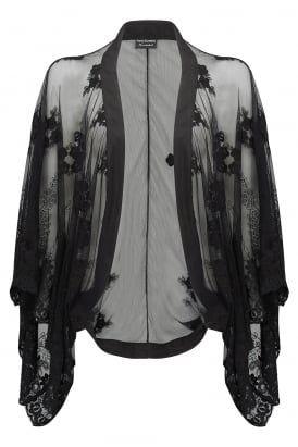 Kimono in embroidered lace