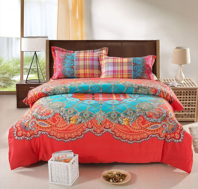 Bohemian Bedding Set Thicken Cotton Brushed Comforter Bedding Sets ... : cheap king quilts - Adamdwight.com