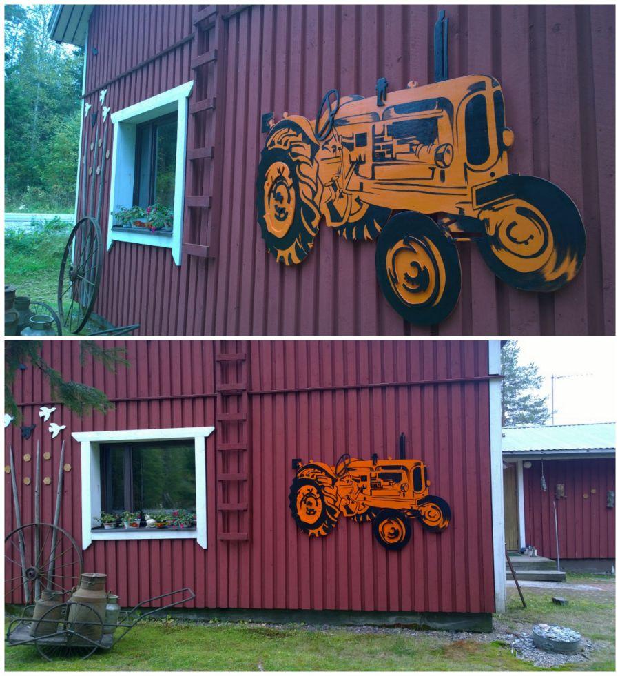 Nuffield- traktori seinäkoriste Kiuruvedellä. Nuffield- wall decoration in Kiuruvesi.
