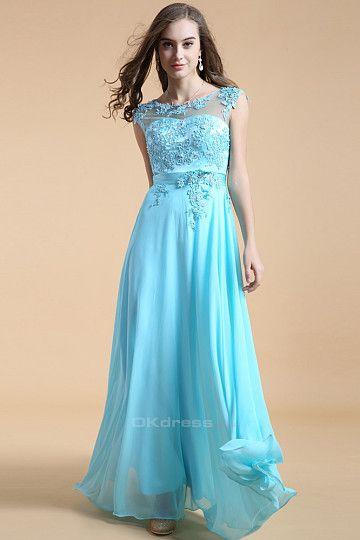 Glamorous Appliques Cap Sleeve Evening Dress
