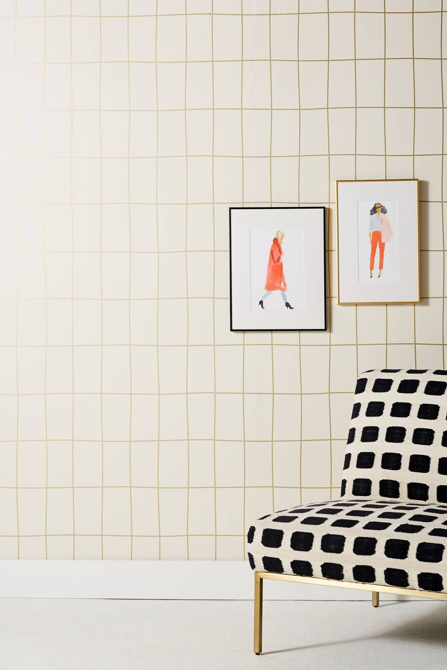 Off The Grid Wallpaper - Anthropologie  Powder Room With