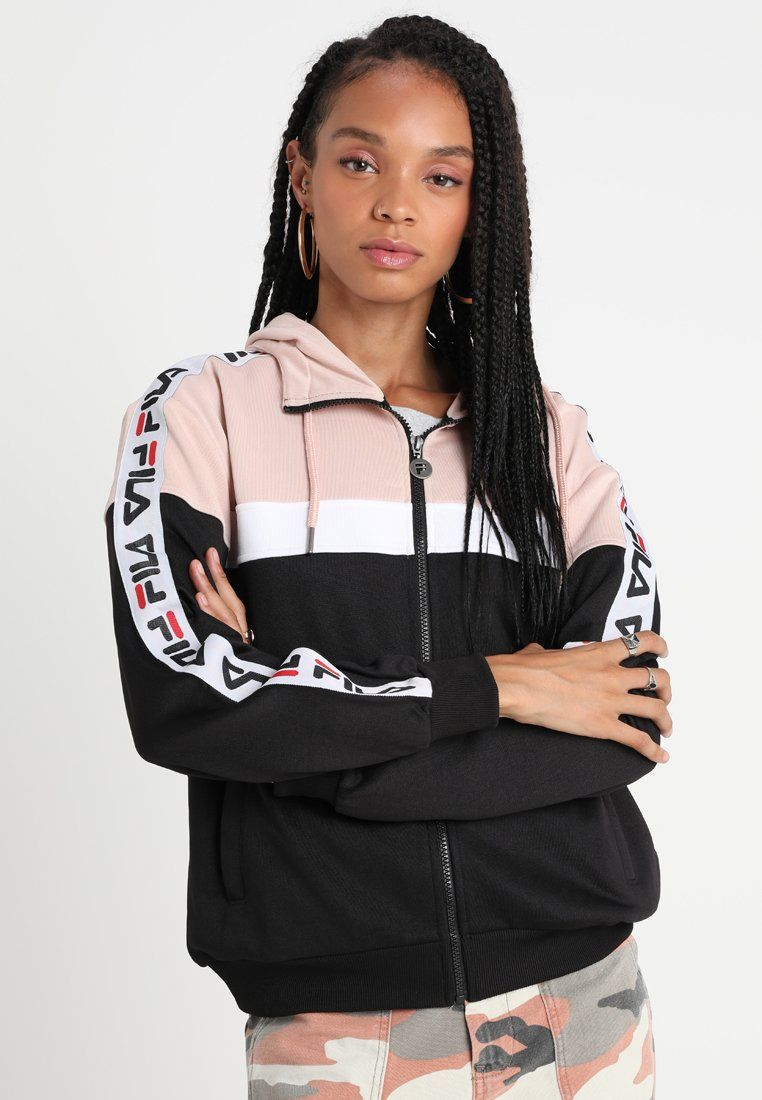 6aeffa52 Fila TEELA HOODED TRACK JACKET - Treningsjakke - black-cameo/rose-bright  white
