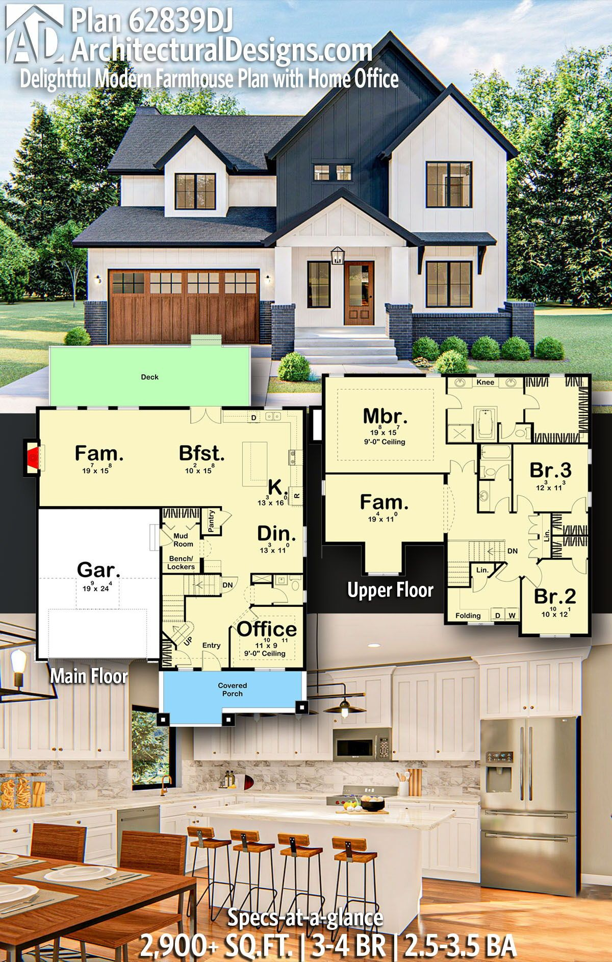 Plan 62839dj Delightful Modern Farmhouse Plan With Home Office In 2020 House Plans Farmhouse Affordable House Plans Open Floor House Plans