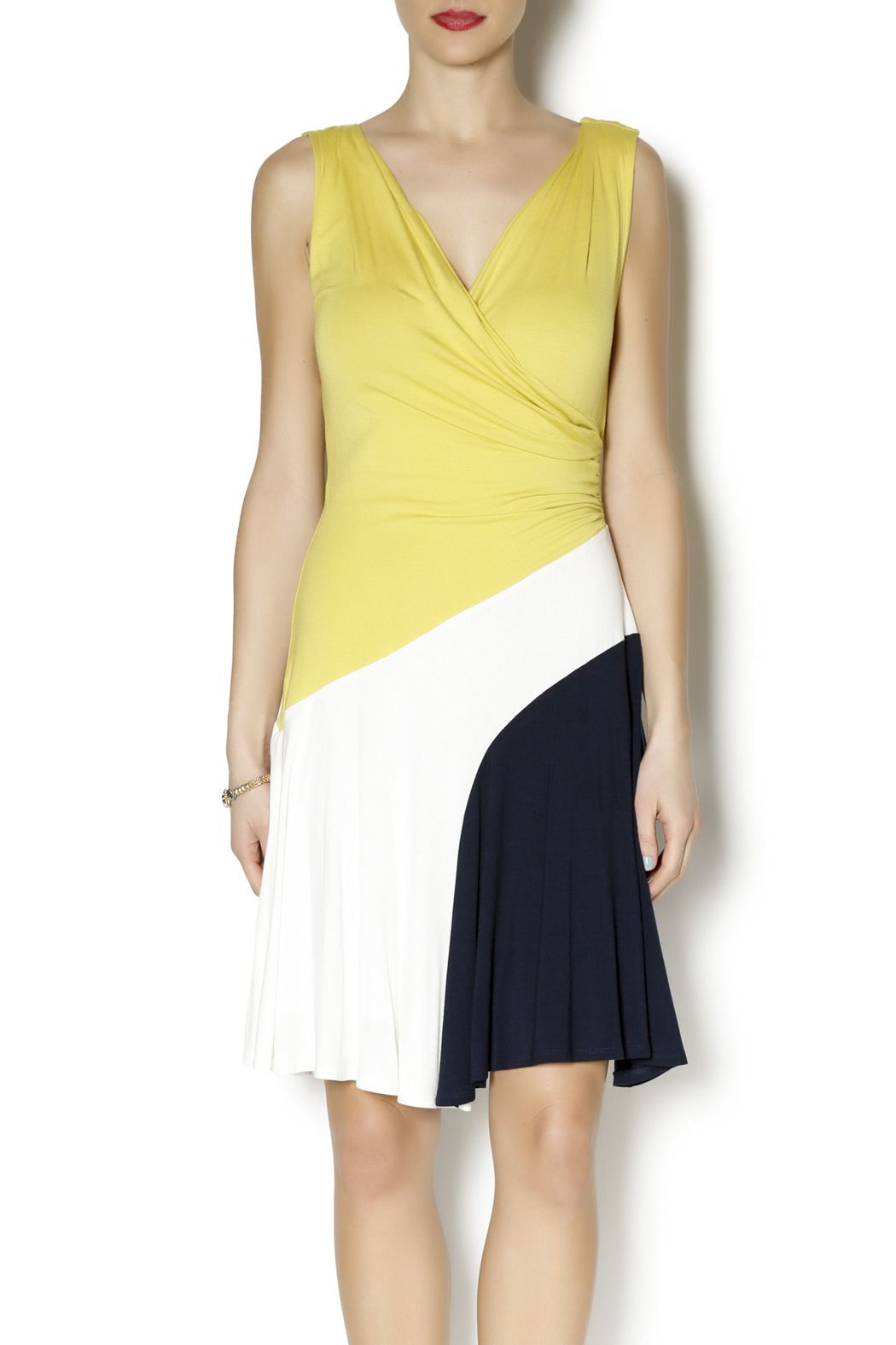 Yellow dress knee length  Colorblock Dress  Colorblock dress Lily clothing and Cross body