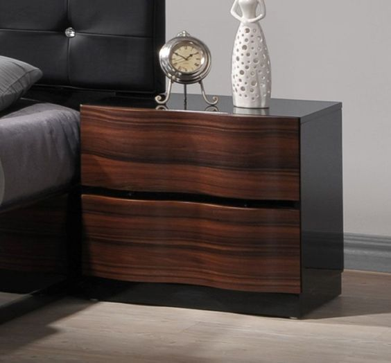 Dark Wooden Nightstand With Shiny Gloss Finish For The Classical
