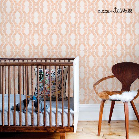 Wave Orange Peel & Stick Fabric Wallpaper Repositionable