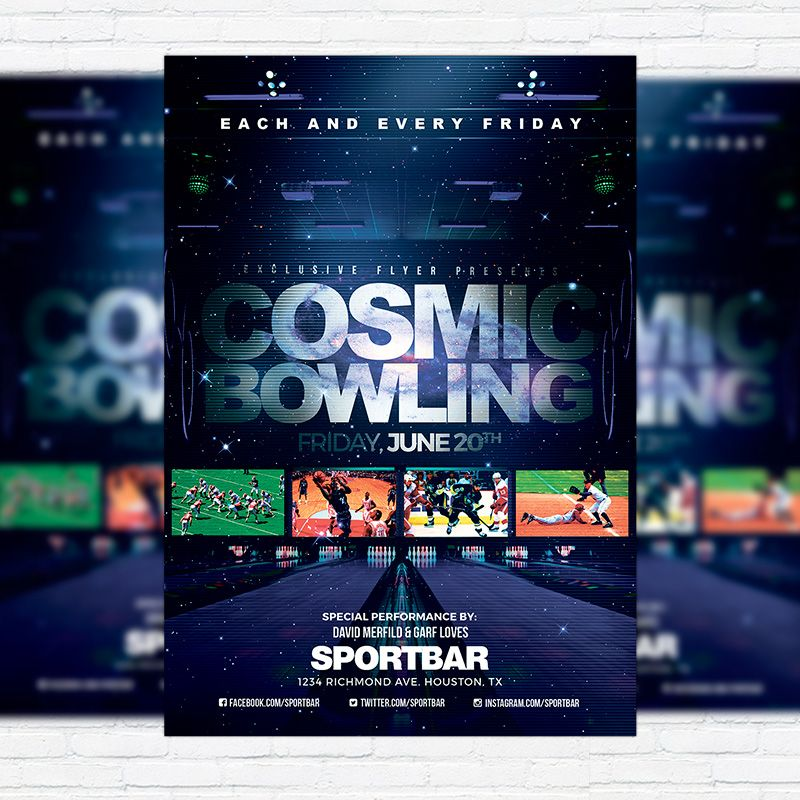 Cosmic Bowling u2013 Premium Flyer Template + Facebook Cover http - bowling flyer template