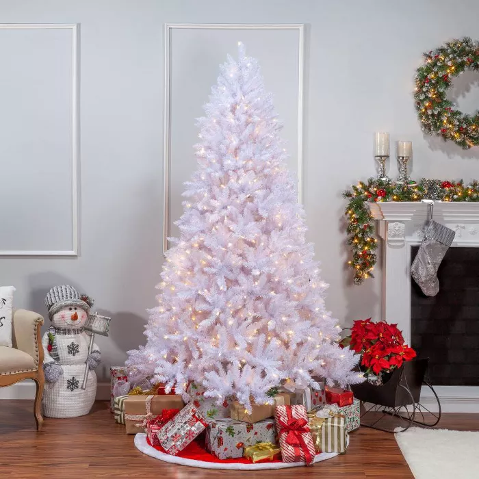 7 5ft Sterling Tree Company Full White Parkview Pine With 600 Color Changing Led Lights Artificial Christmas Tree In 2021 Christmas Tree Inspiration Pine Christmas Tree Artificial Christmas Tree