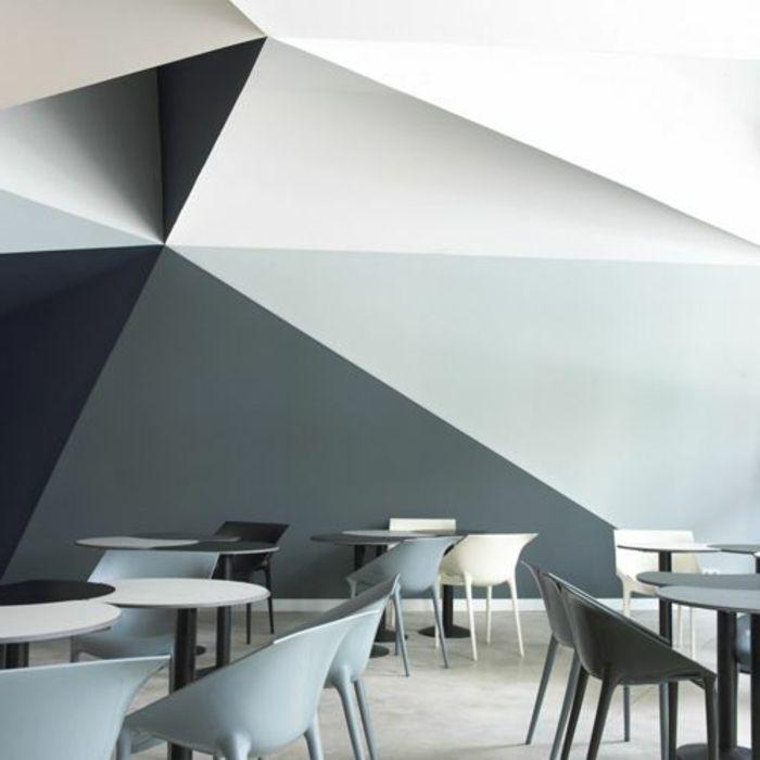 peinture glycro mur blanc gris gris fonc chaise - Salon Design Sol Gris