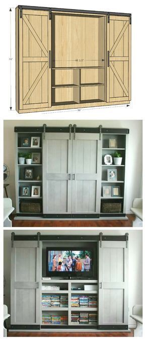ana white sliding door cabinet for tv diy projects