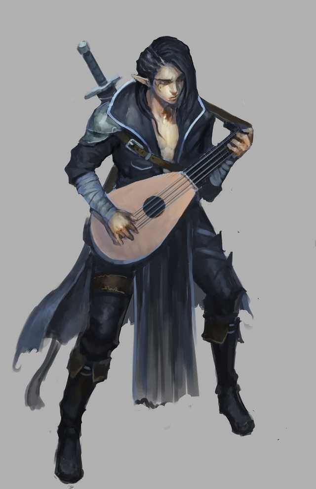 Male Bard playing a lyre