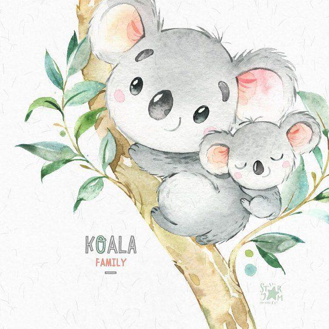 Koala family. Little Animals Watercolor Clipart Australia Koala Bears Watercolor Flowers Babyshower Diy Kids Baby Nursery Love