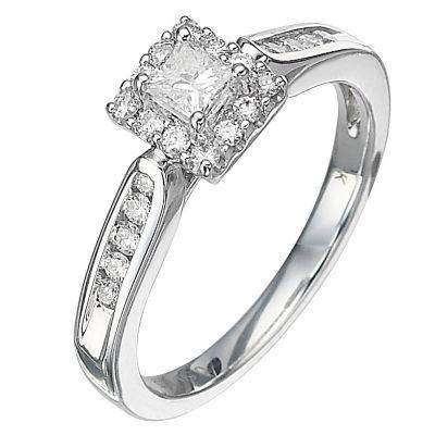 18ct White Gold Half Carat Princess Cut Diamond Ring H Samuel
