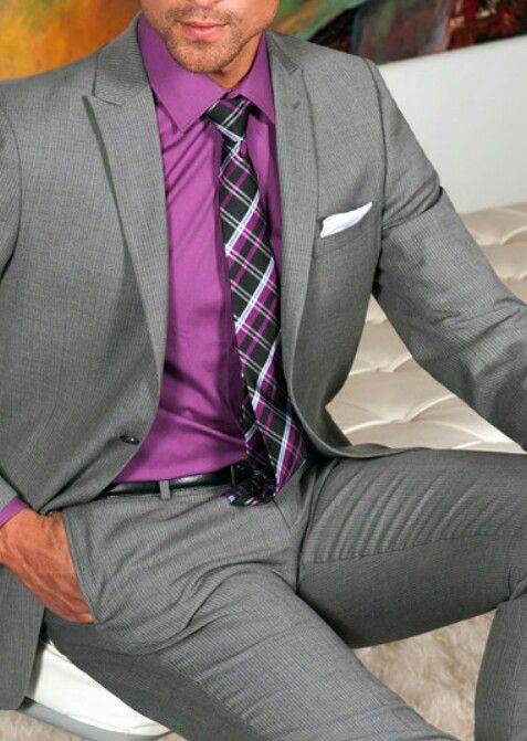 Gray Suit with a pop of color☆ | # MENSWEAR FOR YOU | Pinterest ...
