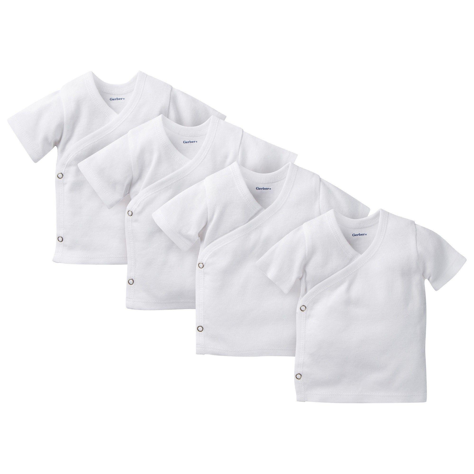 06dd82b48 Gerber Baby 4 Pack Short Sleeve Side Snap Shirts - White 0-3 M, Infant  Unisex
